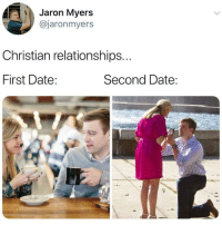 Christian: Jaron Myers  @jaronmyers  Christian relationships...  First Date  Second Date: