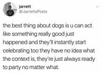 Dogs, Memes, and Party: jarrett  @JarrettsPosts  the best thing about dogs is u can act  like something really good just  happened and they'll instantly start  celebrating too they have no idea what  the context is, they're just always ready  to party no matter what.