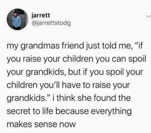 "Grandmas: jarrett  @jarrettstodg  my grandmas friend just told me, ""if  you raise your children you can spoil  your grandkids, but if you spoil your  children you'll have to raise your  grandkids."" i think she found the  II  secret to life because everything  makes sense now"