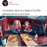 Post 1846: nothing bad has ever happened in the history of the world when pizza was involved: jas  @jeanergay  my brother went on a date w his little  girlfriend & he is so in love  0) Post 1846: nothing bad has ever happened in the history of the world when pizza was involved