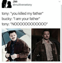 """now this is a good plot twist: Jas  @multiversetony  tony: """"you killed my father""""  bucky: """"I am your father""""  tony: """"NOOOOOOOOOOOO"""" now this is a good plot twist"""