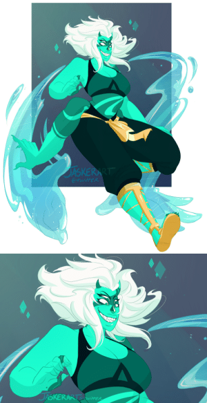 Bad, Bad Bitch, and Bitch: JASKERA  @twitfeR   DASKERARis  itter jasker:  i did a poll on twitter for which fusion to design next and reformed malachite won!! id like to think with perhaps a healthier relationship she'd be a little less monstrous? still a bad bitch tho 😏✨  heres some bonus sketches from when i was designing her!   She kinda reminds me of my Jasper x My OC Malachite ngl XD