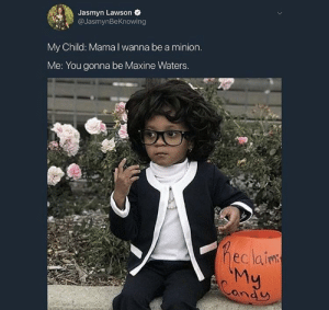 Reclaiming My Candy: Jasmyn Lawson e  @JasmynBeKnowing  My Child: Mama I wanna be a minion  Me: You gonna be Maxine Waters  eclainm  ond U Reclaiming My Candy