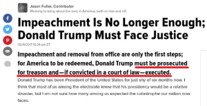 "friendly-neighborhood-patriarch:  hominishostilis:  abstractandedgyname: siryouarebeingmocked:  mississpithy:  bogleech:  notyourmoderate:  angrybell:  thinksquad:   http://archive.is/5VvI5   Huffpo, everybody.      Can someone tell me what high crime or misdemeanor Trump has committed that merits this? Or is the HuffPo just publishing outright fantasies?  God dammit, I'm now in the position of defending Huffington. I didn't want to be here. Okay, @angrybell … actually, @ literally everyone who reblogged this uncritically as a tacit endorsement and agreement. Such as @the-critical-feminist that I reblog this from.My first question has to be: are you serious? Don't read that with a tone, don't read that as an attack. That's my first question: Are you asking a serious question about what high crimes or misdemeanors Trump has perpetrated? Are you asking a sincere question or is this the sort of rhetoric that doesn't translate well into text? And, if you are actually asking this question, are ou going to hear the answer or are you going to immediately start concocting your counter-argument because you just know in your heart that anyone who disagrees with you must be wrong, so you start formulating a plan to prove them wrong before you actually hear what they have to say?Next: did you read the article that was posted in the link you responded to? Because the author of that article does a reasonable job of explaining their thought process behind the headline. Or did you lash out before you read the article? Okay, presuming that you did read the article in good faith, evaluate its points, perform the follow-up research to understand context, and still disagree with the central tenets and simply believe that the author's reasoning does not hold up for whatever reasons you have chosen not to state, and you believe their source information is falsified for whatever reason you have chosen not to state, I will move on. After I have given you and yours every conceivable benefit of the doubt and every charitable assumption. Because if the article itself doesn't convince you, there's the fact that Donald Trump has broken literally every federal law against corruption and conflict of interest. Not one or two, not most, not all but a few. Literally every single law we have against corruption, from the Constitution to the informal guidelines circulated as a memo from the White House ethics scholars. He's broken literally every one of those rules. He's openly traded favors for money and favors for months now. Hell, that Chinese influence-peddler that paid him off for sixteen million dollars should have been enough to get him convicted of treason. Sharing code-word level classified information with a government on the opposite side of an ongoing military conflict isn't *necessarily* treason, unless the information was part of a share program with an allied nation and wasn't his to distribute. That's aiding a foreign aggressor at the expense of a military ally, and that's treason. Giving aid and comfort to enemies of the nation. Obstruction of justice is pretty clear-cut, that's an impeachment, except that the justice in question is also a matter of national security, so that's treason. Again. Defaming the former president? Misdemeanor, impeachable. The way he drags his heels nominating posts in Justice and State could be prosecuted as dereliction of duty. If he has tapes of Comey, he's on the hook for contempt, if he doesn't then he's on the hook for witness tampering. Hell, deleting the covfefe tweet is destroying federal records, which is a misdemeanor, and impeachable. The man doesn't go a week without bringing on an impeachable offense. Strictly speaking, every time he goes to Mar-A-Lago he's committing grand larceny by fraud, because he's taking millions of dollars of American funds for his own benefit, after promising not to do that. There are dozens, hundreds maybe, of impeachable offenses already in this 140 days, ""high crimes and misdemeanors"". Actual counts of treason, punishable by death by hanging, is probably only five or six counts. Only five or six counts of high treason by our sitting president. His job does not put him above reproach. His job is to *be* above reproach. And he's failing that job.   Trump's supporters probably believe he's done nothing impeachable or treasonous because they spent eight years claiming on no grounds whatsoever that Obama was impeachable and treasonous, just because they didn't like him. They now probably convince themselves that these facts about Trump are as fake as their Obama theories and they've ruined the gravity of these terms for themselves.      ""  His job does not put him above reproach. His job is to *be* above reproach. And he's failing that job.   ""       I like how Bogleech doesn't know many Trump supporters are former Obama supporters. https://www.nytimes.com/2018/05/04/us/obama-trump-swing-voters.html https://www.vox.com/policy-and-politics/2018/10/16/17980820/trump-obama-2016-race-racism-class-economy-2018-midterm https://en.wikipedia.org/wiki/Obama-Trump_voters It's not even a secret. But why am I not surprised bogleech - that intellectual titan - failed to do basic research? And last time I checked, no nation required their politicans to be perfect. Which is what NYM is asking for with that quote; perfection. That's what 'above reproach' means. An impossible standard, considering people ""reproach"" Trump for feeding fish wrong, for his skin color, for any and every little thing, even if they have to twist reality into a pretzel to do it. In fact, I've seen people take pictures of kids in cages from 2014, and blame Trump for it.  So this:   Are you asking a serious question about what high crimes or misdemeanors Trump has perpetrated?   Is a question of this:   Can someone tell me what high crime or misdemeanor Trump has committed that merits this?   Seems you missed the part that says ""merits this"".   Next: did you read the article that was posted in the link you responded to? Because the author of that article does a reasonable job of explaining their thought process behind the headline. Or did you lash out before you read the article?    (The underlined is in the subtitle, not the headline.)   Okay, presuming that you did read the article in good faith, evaluate its points, perform the follow-up research to understand context, and still disagree with the central tenets… Context? Central tenets? Do you not know how highlighting works? You don't need to know the context, or any other point, when you're indicating a specific, explicit, and isolated quality. The subtitle called for Trump's execution, we're 5 paragraphs in and you haven't even acknowledged that part yet. Or at all, I'm guessing, because I'm not reading further. You keep talking around it. You accuse others, preemptively, of not hearing the answer and pre-""concocting"" a response, and yet you're waffling on about shit around the one, sole, isolated thing that was indicated in the first place. This isn't about ignoring context, this is about criticising one thing. Which is a thing people are allowed to do, by the way, just because people criticise one thing, doesn't mean they're criticising everything about the everyone involved, and everything said before, adjacent to, and after that one thing, and therefore are required to include all of those things in their consideration and assessment of this one thing. The specific criticism of the indicated quality is the advocation of Trump's execution. That's it. No context is needed to understand that this is what was said, especially since that which was said, which is being criticised, is explicit. No amount of, ""So, click-bait subtitle that you don't see until you've already clicked on the article link out of the way, here's what I actually meant when I said I wanted this person tried and executed,"" could excuse the use of that language, let alone actually believing in it. It's like… it's like if someone makes a typo, someone else is like, ""Oh, seems you made a typo,"" you'd jump in like, ""But what about they're perfectly reasonable spelling everywhere else? Hm? Forced to ignore contextual perfect spelling I see. They're lack of typos everywhere else explains this typo, and vindicates it"". You and what's his face, James, fuckin ReasonAndEmpathy or whatever now, y'all keep saying ""but what of the context?"" when the criterion of criticism is isolated, atomic, specific, and/or explicit. No amount of context invalidates the very specific, singular words explicitly spoken. ""Sure he called for Trump to be executed, but he explains himself."" Fucking and? When did the death sentence become ok? When did that happen? Moderates are ok with the death sentence now? Aight, weird.   Man this fucking post aged like fine wine, take a SIP   Delicious  This was quite a ride: Jason Fuller, Contributor  Working to bring about the best in America, both on-line and off.  Impeachment Is No Longer Enough;  Donald Trump Must Face Justice  Impeachment and removal from office are only the first steps;  for treason and-if convicted in a court of law-executed.  06/11/2017 10:39 pm ET  for America to be redeemed, Donald Trump must be prosecuted  Donald Trump has been President of the United States for just shy of six months now. I  think that most of us among the electorate knew that his presidency would be a relative  disaster, but I am not sure how many among us expected the catastrophe our nation now  faces. friendly-neighborhood-patriarch:  hominishostilis:  abstractandedgyname: siryouarebeingmocked:  mississpithy:  bogleech:  notyourmoderate:  angrybell:  thinksquad:   http://archive.is/5VvI5   Huffpo, everybody.      Can someone tell me what high crime or misdemeanor Trump has committed that merits this? Or is the HuffPo just publishing outright fantasies?  God dammit, I'm now in the position of defending Huffington. I didn't want to be here. Okay, @angrybell … actually, @ literally everyone who reblogged this uncritically as a tacit endorsement and agreement. Such as @the-critical-feminist that I reblog this from.My first question has to be: are you serious? Don't read that with a tone, don't read that as an attack. That's my first question: Are you asking a serious question about what high crimes or misdemeanors Trump has perpetrated? Are you asking a sincere question or is this the sort of rhetoric that doesn't translate well into text? And, if you are actually asking this question, are ou going to hear the answer or are you going to immediately start concocting your counter-argument because you just know in your heart that anyone who disagrees with you must be wrong, so you start formulating a plan to prove them wrong before you actually hear what they have to say?Next: did you read the article that was posted in the link you responded to? Because the author of that article does a reasonable job of explaining their thought process behind the headline. Or did you lash out before you read the article? Okay, presuming that you did read the article in good faith, evaluate its points, perform the follow-up research to understand context, and still disagree with the central tenets and simply believe that the author's reasoning does not hold up for whatever reasons you have chosen not to state, and you believe their source information is falsified for whatever reason you have chosen not to state, I will move on. After I have given you and yours every conceivable benefit of the doubt and every charitable assumption. Because if the article itself doesn't convince you, there's the fact that Donald Trump has broken literally every federal law against corruption and conflict of interest. Not one or two, not most, not all but a few. Literally every single law we have against corruption, from the Constitution to the informal guidelines circulated as a memo from the White House ethics scholars. He's broken literally every one of those rules. He's openly traded favors for money and favors for months now. Hell, that Chinese influence-peddler that paid him off for sixteen million dollars should have been enough to get him convicted of treason. Sharing code-word level classified information with a government on the opposite side of an ongoing military conflict isn't *necessarily* treason, unless the information was part of a share program with an allied nation and wasn't his to distribute. That's aiding a foreign aggressor at the expense of a military ally, and that's treason. Giving aid and comfort to enemies of the nation. Obstruction of justice is pretty clear-cut, that's an impeachment, except that the justice in question is also a matter of national security, so that's treason. Again. Defaming the former president? Misdemeanor, impeachable. The way he drags his heels nominating posts in Justice and State could be prosecuted as dereliction of duty. If he has tapes of Comey, he's on the hook for contempt, if he doesn't then he's on the hook for witness tampering. Hell, deleting the covfefe tweet is destroying federal records, which is a misdemeanor, and impeachable. The man doesn't go a week without bringing on an impeachable offense. Strictly speaking, every time he goes to Mar-A-Lago he's committing grand larceny by fraud, because he's taking millions of dollars of American funds for his own benefit, after promising not to do that. There are dozens, hundreds maybe, of impeachable offenses already in this 140 days, ""high crimes and misdemeanors"". Actual counts of treason, punishable by death by hanging, is probably only five or six counts. Only five or six counts of high treason by our sitting president. His job does not put him above reproach. His job is to *be* above reproach. And he's failing that job.   Trump's supporters probably believe he's done nothing impeachable or treasonous because they spent eight years claiming on no grounds whatsoever that Obama was impeachable and treasonous, just because they didn't like him. They now probably convince themselves that these facts about Trump are as fake as their Obama theories and they've ruined the gravity of these terms for themselves.      ""  His job does not put him above reproach. His job is to *be* above reproach. And he's failing that job.   ""       I like how Bogleech doesn't know many Trump supporters are former Obama supporters. https://www.nytimes.com/2018/05/04/us/obama-trump-swing-voters.html https://www.vox.com/policy-and-politics/2018/10/16/17980820/trump-obama-2016-race-racism-class-economy-2018-midterm https://en.wikipedia.org/wiki/Obama-Trump_voters It's not even a secret. But why am I not surprised bogleech - that intellectual titan - failed to do basic research? And last time I checked, no nation required their politicans to be perfect. Which is what NYM is asking for with that quote; perfection. That's what 'above reproach' means. An impossible standard, considering people ""reproach"" Trump for feeding fish wrong, for his skin color, for any and every little thing, even if they have to twist reality into a pretzel to do it. In fact, I've seen people take pictures of kids in cages from 2014, and blame Trump for it.  So this:   Are you asking a serious question about what high crimes or misdemeanors Trump has perpetrated?   Is a question of this:   Can someone tell me what high crime or misdemeanor Trump has committed that merits this?   Seems you missed the part that says ""merits this"".   Next: did you read the article that was posted in the link you responded to? Because the author of that article does a reasonable job of explaining their thought process behind the headline. Or did you lash out before you read the article?    (The underlined is in the subtitle, not the headline.)   Okay, presuming that you did read the article in good faith, evaluate its points, perform the follow-up research to understand context, and still disagree with the central tenets… Context? Central tenets? Do you not know how highlighting works? You don't need to know the context, or any other point, when you're indicating a specific, explicit, and isolated quality. The subtitle called for Trump's execution, we're 5 paragraphs in and you haven't even acknowledged that part yet. Or at all, I'm guessing, because I'm not reading further. You keep talking around it. You accuse others, preemptively, of not hearing the answer and pre-""concocting"" a response, and yet you're waffling on about shit around the one, sole, isolated thing that was indicated in the first place. This isn't about ignoring context, this is about criticising one thing. Which is a thing people are allowed to do, by the way, just because people criticise one thing, doesn't mean they're criticising everything about the everyone involved, and everything said before, adjacent to, and after that one thing, and therefore are required to include all of those things in their consideration and assessment of this one thing. The specific criticism of the indicated quality is the advocation of Trump's execution. That's it. No context is needed to understand that this is what was said, especially since that which was said, which is being criticised, is explicit. No amount of, ""So, click-bait subtitle that you don't see until you've already clicked on the article link out of the way, here's what I actually meant when I said I wanted this person tried and executed,"" could excuse the use of that language, let alone actually believing in it. It's like… it's like if someone makes a typo, someone else is like, ""Oh, seems you made a typo,"" you'd jump in like, ""But what about they're perfectly reasonable spelling everywhere else? Hm? Forced to ignore contextual perfect spelling I see. They're lack of typos everywhere else explains this typo, and vindicates it"". You and what's his face, James, fuckin ReasonAndEmpathy or whatever now, y'all keep saying ""but what of the context?"" when the criterion of criticism is isolated, atomic, specific, and/or explicit. No amount of context invalidates the very specific, singular words explicitly spoken. ""Sure he called for Trump to be executed, but he explains himself."" Fucking and? When did the death sentence become ok? When did that happen? Moderates are ok with the death sentence now? Aight, weird.   Man this fucking post aged like fine wine, take a SIP   Delicious  This was quite a ride"