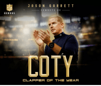 Congratulations Jason Garrett! https://t.co/QagFsNF86F: JASON GRRRETT  NFL  HONORS  COWBOY S H C  do  COTY  CLAPPER F THE-EAR Congratulations Jason Garrett! https://t.co/QagFsNF86F