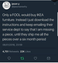 Ikea, Period, and Furniture: jason y  @jasonarewhy  Only a FOOL would buy IKEA  furniture. Instead I just download the  instructions and keep emailing their  service dept to say that I am missing  a piece, until they ship me all the  pieces over a six month period  08/01/2018, 23:59  4,751 Retweets 22K Likes 🤔
