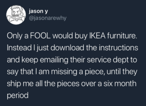 Ikea, Period, and Tumblr: jason y  @jasonarewhy  Only a FOOL would buy IKEA furniture.  Instead I just download the instructions  and keep emailing their service dept to  say that lam missing a piece, until they  ship me all the pieces over a six month  period ladymalchav: