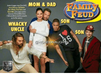 "Anime, Dad, and Family: Jaticelogqestan (iemlet MOM & DAD  Justice League stars (rom left)  Jason Momoa, Gal Gadot.  Ben Affleck, Ray Fisher and  Ezra Miller (dressed as anime  character Edward Elric from  Fulmetal Alchemist) hammed it  up for the camera.  AMILY  EUD  SON  WHACKY  UNCLE  @WONDERVAUGHN>  ave HERE IS THE ""JUSTICE"" FAMILY starting @gal_gadot @benaffleck @prideofgypsies @rehsifyar ezramiller AND @henrycavill would be the GRANDFATHER. The first among equals (primus inter pares). * ...and I hope everyone knows the GAME SHOW ""Family Feud"" where two teams, each comprised of FIVE family members, who try to match the answers given to survey questions asked to groups of people. The family that wins the game by being the first to reach a certain point total advances to the bonus round. *** unitetheleague benaffleck brucewayne galgadot dianaprince jasonmomoa arthurcurry ezramiller barryallen rayfisher victorstone henrycavill clarkkent manofsteel thedarkknight girlpower women femaleempowerment MulherMaravilha MujerMaravilla familyfeud"