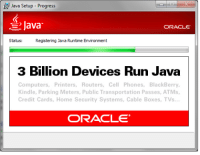 BlackBerry, Computers, and Global Warming: Java Setup-Progress  Java  ORACLE  Status:  Registering Java Runtime Environment  3 Billion Devices Run Java  Computers, Printers, Routers, Cell Phones, BlackBerry,  Kindle, Parking Meters, Public Transportation Passes, ATMs,  Credit Cards, Home Security Systems, Cable Boxes, TVs  ORACLE That explains global warming.