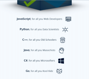 Java developers, is that true? (found on some website): JavaScript, for all you Web Developers  Python, for all you Data Scientists  C++ for all you Old Schoolers  Java, for all you Masochists  C#, for all you Microsofters  Go, for all you Kool Kidz Java developers, is that true? (found on some website)