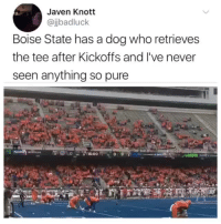 Never, Dog, and Who: Javen Knott  @jbadluck  Boise State has a dog who retrieves  the tee after Kickoffs and I've never  seen anything so pure