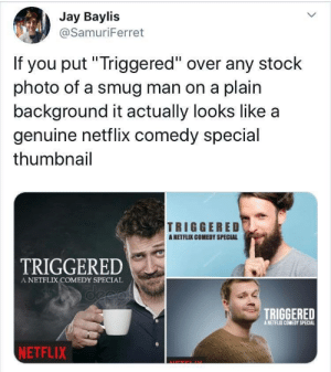 "smug: Jay Baylis  @SamuriFerret  If you put""Triggered"" over any stock  photo of a smug man on a plain  background it actually looks like a  genuine netflix comedy special  thumbnail  TRIGGERED  ANETFLIX COMEDY SPECIAL  TRIGGERED  A NETFLIX COMEDY SPECIAL  deeas  TRIGGERED  A NETFLIX COMEDY SPECIAL  NETFLIX"