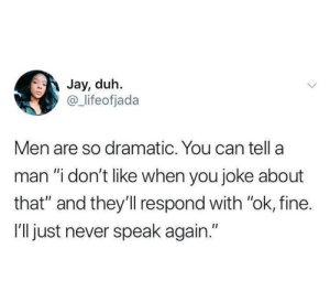 "Funny, Jay, and Tumblr: Jay, duh.  @ lifeofjada  Men are so dramatic. You can tella  man ""i don't like when you joke about  that"" and they'll respond with ""ok, fine.  I'll just never speak again."""