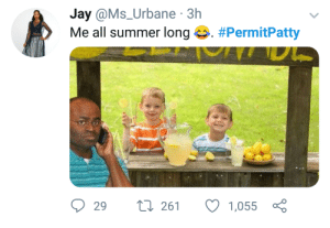 Dank, Hello, and Jay: Jay @Ms_Urbane 3h  Me all summer long 42. #PermitPatty  29  261 1,055 Yes hello police? Theres kids selling lemonade without a permit by ComfyBrah FOLLOW HERE 4 MORE MEMES.