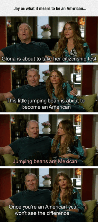 lolzandtrollz:  At Least He's Honest About It: Jay on what it means to be an American...  Gloria is about to take her citizenship test  This little jumping bean is about to  become an American  Jumping beans are Mexican  you're an American you  won't see the difference.  Once lolzandtrollz:  At Least He's Honest About It
