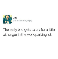 Happy Tuesday. Go get em, kiddo. TalkThirtyToMe: Jay  @theshamingofjay  The early bird gets to cry for a little  bit longer in the work parking lot. Happy Tuesday. Go get em, kiddo. TalkThirtyToMe