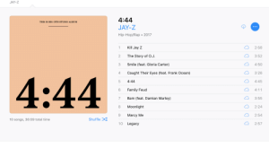 Family, Family Feud, and Frank Ocean: JAY-Z  4:44  JAY-Z  Hip-Hop/Rap 2017  THIS IS HIS 13TH STUDIO ALBUM  1 Kill Jay Z  2 The Story of O.J  3 Smile (feat. Gloria Carter)  4 Caught Their Eyes (feat. Frank Ocean)  5 4:44  6 Family Feud  7 Bam (feat. Damian Marley)  8 Moonlight  9 Marcy Me  10 Legacy  2:58  3:52  凸4:50  3:26  4:45  4:44  3:55  2:24  2:54  2:57  10 songs, 36:09 total time  Shuffle thesnobbyartsyblog:  Uh uh  fucking amazing album.