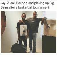 Basketball, Big Sean, and Dad: Jay-Z look like he a dad picking up Big  Sean after a basketball tournament Niggaa..😂😂😂