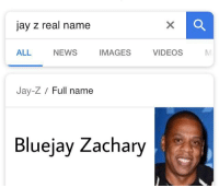Real Name: jay z real name  ALL  NEWS  IMAGESVIDEOS  Jay-Z Full name  Bluejay Zachary