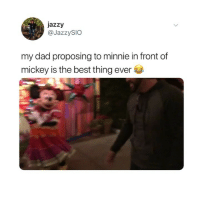 omg Minnie's entire reaction is so good, watch the whole thing 😂 (@jazzysio on Twitter): jazzy  @JazzySIO  my dad proposing to minnie in front of  mickey is t  he best thing ever omg Minnie's entire reaction is so good, watch the whole thing 😂 (@jazzysio on Twitter)