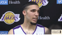 Media Q & A with LiAngelo Ball after his work out for the Lakers.   (Via @Lakers)  https://t.co/F3NG927ECF: JCLA  HealthBRS  LOSANGELES  ealth  DRAFT  WORKOUTS  UCLA Media Q & A with LiAngelo Ball after his work out for the Lakers.   (Via @Lakers)  https://t.co/F3NG927ECF