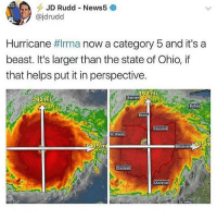 lol: -JD Rudd-News5  @jdrudd  Hurricane #Irma now a category 5 and it's a  beast. It's larger than the state of Ohio, if  that helps put it in perspective.  392mi  Saginaw  39  2  uttalo  tto  Clevelar  ort Wayne  405m  405m  eittsburgh  harleston  Roinok lol