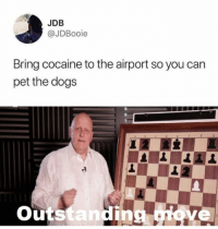 Cocaine, Dank Memes, and Pro: JDB  @JDBooie  Bring cocaine to the airport so you can  pet the dog:s  Outstanding iove Pro tip