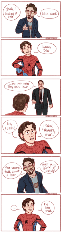 """""""Do you see me as a father figure, Peter?"""": Jeah, l  lookad it  Over  Nice work  QUIETSNOO1E:NET  Thanks  Dad   You just called  ony Stark Dad.  QUIEISNOOZE!NE  No  I didn!  I said  Thanks  man.   Over a..  game of  Catch?  ou wanno  talk abd  t later  QUIEISNOOENE  l'd  like  that """"Do you see me as a father figure, Peter?"""""""