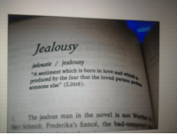 """schmidt: Jealousy  jalousie7jealousy  """"A sentiment which is born in love  uced by the fear that the loved peon  someone else"""" (Littré),  and  l. The jealous man in the novel is not w  e Schmidt, Frederika's fiancé, the"""