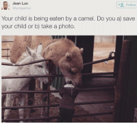 Your Child Is Being Eaten By A Camel: Jean Luc  Follow  @lamjeanluc  Your child is being eaten by a camel. Do you a save  your child or b) take a photo.