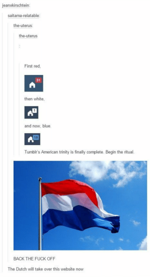 The Dutch take over Tumblromg-humor.tumblr.com: jeanxkirschtein:  saitama-relatable:  the-uterus:  the-uterus  First red,  31  then white,  and now, blue.  19  Tumblr's American trinity is finally complete. Begin the ritual.  BACK THE FUCK OFF  The Dutch will take over this website now The Dutch take over Tumblromg-humor.tumblr.com
