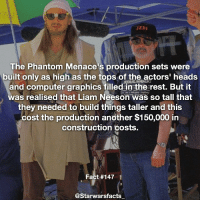 Checkout this great picture of Liam Neeson 😂 starwarsfacts: JEDI  The Phantom Menace's production sets were  built only as high as the tops of the actors' heads  and computer graphics filled in the rest. But it  was realised that Liam Neeson was so tall that  they needed to build things taller and this  cost the production another $150,000 in  construction costs.  Fact #147  @Starwarsfacts Checkout this great picture of Liam Neeson 😂 starwarsfacts