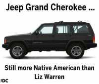 Memes, Native American, and American: Jeep Grand Cherokee  Still more Native American than  Liz Warren  EDC Get REKT Liz