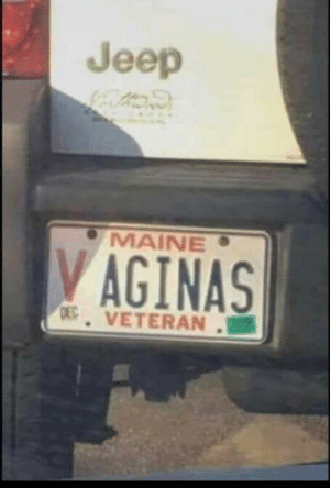 Jeep, Maine, and Service: Jeep  MAINE  VAGINAS  D VETERAN.B7 Well played sir, thanks for your service!