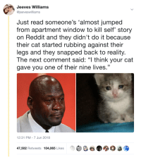 "Reddit, Jumped, and Reality: Jeeves Williams  @jeeveswilliams  Just read someone's 'almost jumped  from apartment window to kill self' story  on Reddit and they didn't do it because  their cat started rubbing against their  legs and they snapped back to reality  The next comment said: ""I think your cat  gave you one of their nine lives.""  12:31 PM-7 Jun 2018  ee e.  0 a,  47,502 Retweets 104,065 Likes <p>Eight is plenty</p>"