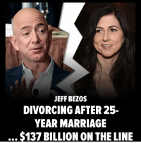 Amazon founder-CEO (& RICHEST man in the world) Jeff Bezos and his wife are divorcing ... and a record $137 BILLION is on the line. 💰💰💰💰. The multi-billion dollar question ... is there a prenup? More on TMZ.com amazon jeffbezos tmz: JEFF BEZOS  DIVORCING AFTER 25-  YEAR MARRIAGE  $137 BILLION ON THE LINE Amazon founder-CEO (& RICHEST man in the world) Jeff Bezos and his wife are divorcing ... and a record $137 BILLION is on the line. 💰💰💰💰. The multi-billion dollar question ... is there a prenup? More on TMZ.com amazon jeffbezos tmz