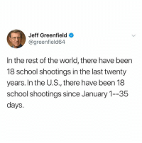 Life, Memes, and School: Jeff Greenfield  @greenfield64  In the rest of the world, there have been  18 school shootings in the last twenty  years. In the U.S., there have been 18  school shootings since January 1--35  days. Is this real life?? Yes, yes it is...BUT IT DOESN'T HAVE TO BE! Lets change this myheart 💔 . . Repost @sarahsophief: Has your member of Congress received campaign support from the NRA? Go to @moveon and find out. We must VOTETHEMOUT in 2018. REJECTTHENRA The National Rifle Association has a financial chokehold on much of Congress. It's one of the main reasons why, in the wake of mass shootings such as the ones in Las Vegas, Orlando, San Bernardino, and Sandy Hook, we remain unable to pass commonsense gun laws. rejectthenra votethemout votethemout2018 togetherwerise powertothepolls stayhuman keepshowingup resist