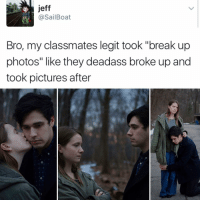"Jesus, Kendall Jenner, and Memes: jeff  @Sail Boat  Bro, my classmates legit took ""break up  photos"" like they deadass broke up and  took pictures after ""I follow @kalesalad and u should too"" - Kendall Jenner and Jesus"