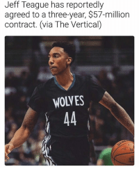 Jimmy Butler, Nba, and Minnesota: Jeff Teague has reportedly  agreed to a three-year, $57-million  contract. (via The Vertical)  WOLVES Jeff Teague is joining Jimmy Butler in Minnesota🔥 (via @ballershype) ➡Snapchat 👻 - ballershype ➡TURN ON POST NOTIFICATIONS 💥 ➡ FOLLOW @ballershype❗ Tags: nba nbamemes
