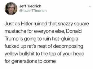 Donald Trump: Jeff Tiedrich  @itsJeffTiedrich  Just as Hitler ruined that snazzy square  mustache for everyone else, Donald  Trump is going to ruin hot-gluing a  fucked up rat's nest of decomposing  yellow bullshit to the top of your head  for generations to come