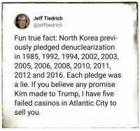 casinos: Jeff Tiedrich  @jefftiedrich  Fun true fact: North Korea previ-  ously pledged denuclearization  in 1985,1992,1994, 2002, 2003,  2005, 2006, 2008, 2010, 2011,  2012 and 2016. Each pledge was  a lie. If you believe any promise  Kim made to Trump, I have five  failed casinos in Atlantic City to  sell you.