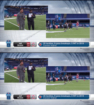 .@JeffOkudah and the CBs take the field for drills.  📺: #NFLCombine on @NFLNetwork 📱: https://t.co/vDFxxNddNZ https://t.co/hgR8dLD5Vt: .@JeffOkudah and the CBs take the field for drills.  📺: #NFLCombine on @NFLNetwork 📱: https://t.co/vDFxxNddNZ https://t.co/hgR8dLD5Vt