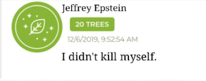 I know mods are gonna delete it, but yea, enjoy the TRUTH.: Jeffrey Epstein  20 TREES  12/6/2019, 9:52:54 AM  I didn't kill myself. I know mods are gonna delete it, but yea, enjoy the TRUTH.