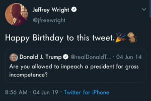 Birthday, Iphone, and Twitter: Jeffrey Wright  @jfreewright  Happy Birthday to this tweet.  Donald J. Trump  @realDonaldT... 04 Jun 14  Are you allowed to impeach a president for gross  incompetence?  8:56 AM 04 Jun 19 Twitter for iPhone Friendly reminder