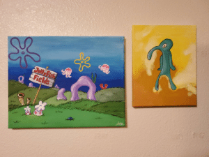 Not sure if this is the right place to share these, but hung up my paintings yesterday: Jell Fish  Fields Not sure if this is the right place to share these, but hung up my paintings yesterday