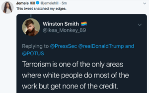 If there is a lie here I cant find it. by StBernardOfLA MORE MEMES: Jemele Hill@jemelehill - 5m  This tweet snatched my edges.  Winston Smith  @lkea_Monkey 89  Replying to @PressSec @realDonaldTrump and  @POTUS  Terrorism is one of the only areas  where white people do most of the  work but get none of the credit. If there is a lie here I cant find it. by StBernardOfLA MORE MEMES