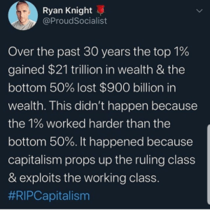 jemthecrystalgem:  iammyfather: I  want to make sure no one misses the most important fact here.  Not only did the entire $20 T in new wealth created get gobbled up by the 1% but they also took another $1 T from the rest.  So they not only didn't share any of the new found wealth with those that actually created it, but sucked up a portion the wealth they had before the new wealth was created.  So you re not only not paid, but you paid them for the honor of giving them all the wealth.   No we had our money ripped from us in exchange for things we need in order to live. : jemthecrystalgem:  iammyfather: I  want to make sure no one misses the most important fact here.  Not only did the entire $20 T in new wealth created get gobbled up by the 1% but they also took another $1 T from the rest.  So they not only didn't share any of the new found wealth with those that actually created it, but sucked up a portion the wealth they had before the new wealth was created.  So you re not only not paid, but you paid them for the honor of giving them all the wealth.   No we had our money ripped from us in exchange for things we need in order to live.