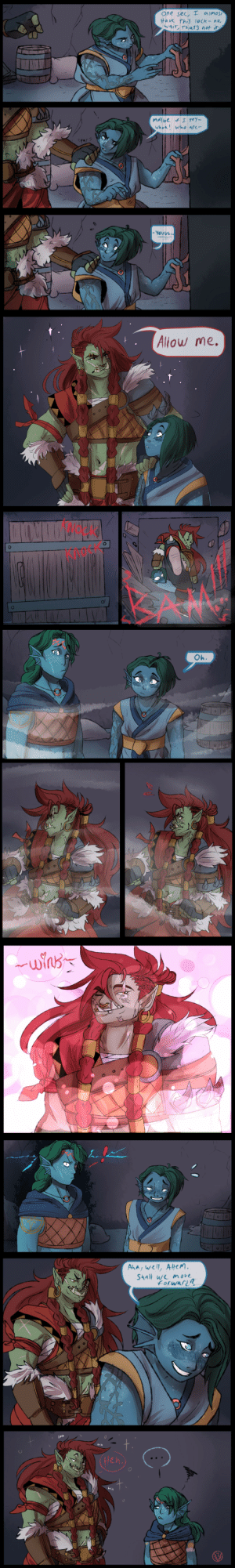 jen-iii:    I got REALLY fun commission from a friend who guest starred in one of our party campaign sessions! He wanted a scene where his OC'S, Bran and Nona (siblings), meet Brutaak because during that session, Nona fell HARD for this chunk of 100% Beef and here's how the scene went  : jen-iii:    I got REALLY fun commission from a friend who guest starred in one of our party campaign sessions! He wanted a scene where his OC'S, Bran and Nona (siblings), meet Brutaak because during that session, Nona fell HARD for this chunk of 100% Beef and here's how the scene went