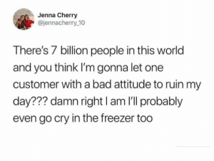 Bad, Dank, and World: Jenna Cherry  @jennacherry 10  There's 7 billion people in this world  and you think I'm gonna let one  customer with a bad attitude to ruin my  day??? damn right I am I'll probably  even go cry in the freezer too Freeze these tears solid.