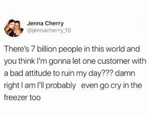 These tears of ice: Jenna Cherry  @jennacherry 10  There's 7 billion people in this world and  you think I'm gonna let one customer with  a bad attitude to ruin my day??? damn  right I am l'll probably even go cry in the  freezer too These tears of ice